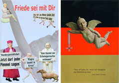 """Der Prospekt """"Friede sei mit Dir"""" kann im Taz-Shop Berlin gekauft werden."""